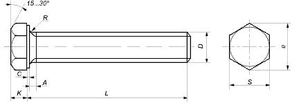 Болты оцинкованные DIN 933 с шестигранной головкой размеры